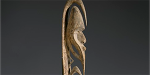 Object: Yipwon Spirit Figure Culture/Location: Papua New Guinea, Korewori River area Date: Mid 1800s Materials: Cowrie shells and pigment on wood Dimensions: No dimensions given Institution and Accession Number: Denver Art Museum 2001.157