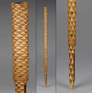 Object type: Bamboo flute (kaur) Culture/location: Vanuatu, possibly Ambrim Dimensions: Length 36 1 /4 in, width 1 3 /8 in Materials: bamboo Institution: Museum of Fine Art Boston 2002.206
